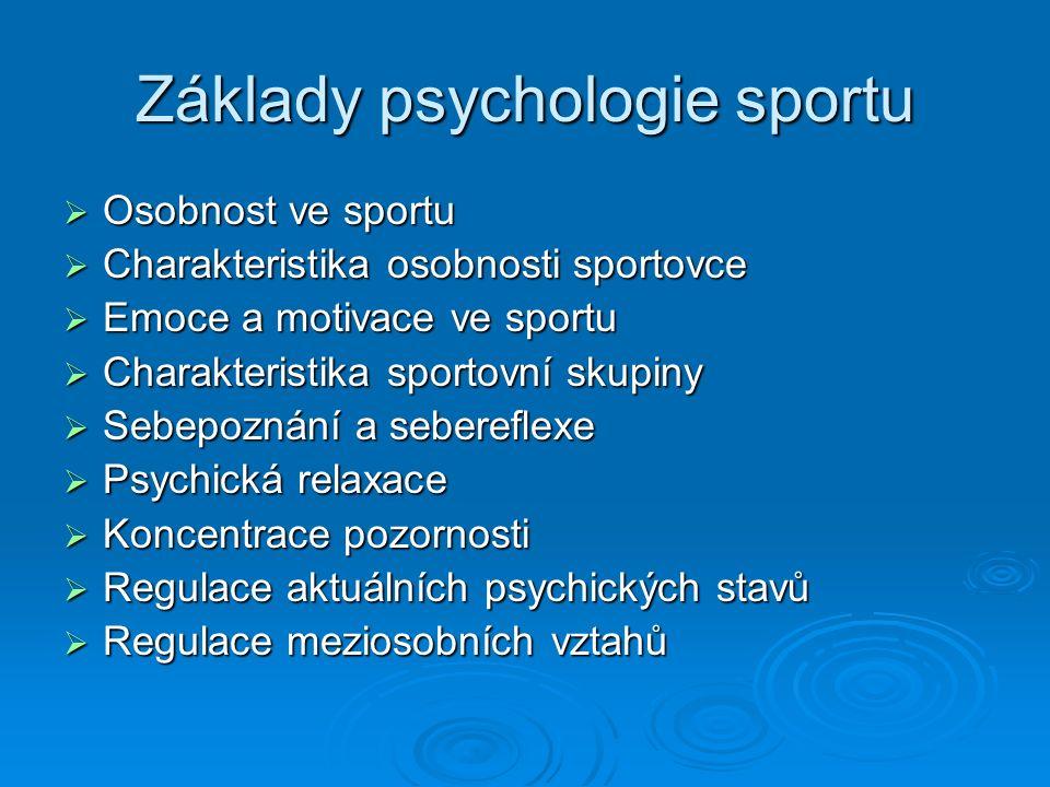 Základy psychologie sportu  Osobnost ve sportu  Charakteristika osobnosti sportovce  Emoce a motivace ve sportu  Charakteristika sportovní skupiny  Sebepoznání a sebereflexe  Psychická relaxace  Koncentrace pozornosti  Regulace aktuálních psychických stavů  Regulace meziosobních vztahů