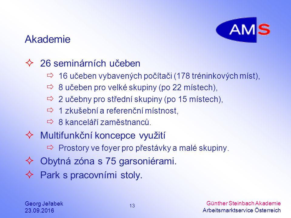 13 Georg Jeřabek 23.09.2016 Günther Steinbach Akademie Arbeitsmarktservice Österreich Akademie  26 seminárních učeben  16 učeben vybavených počítači (178 tréninkových míst),  8 učeben pro velké skupiny (po 22 místech),  2 učebny pro střední skupiny (po 15 místech),  1 zkušební a referenční místnost,  8 kanceláří zaměstnanců.