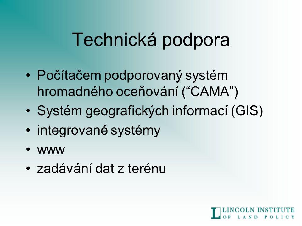Technická podpora Počítačem podporovaný systém hromadného oceňování ( CAMA ) Systém geografických informací (GIS) integrované systémy www zadávání dat z terénu