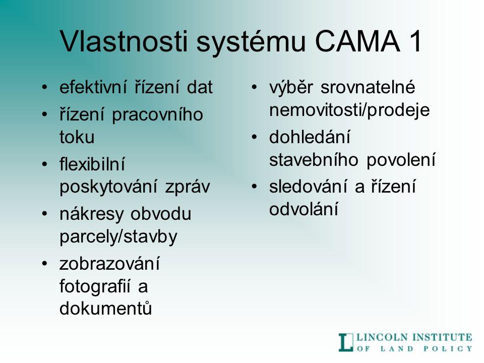 Vlastnosti systému CAMA 1 efektivní řízení dat řízení pracovního toku flexibilní poskytování zpráv nákresy obvodu parcely/stavby zobrazování fotografií a dokumentů výběr srovnatelné nemovitosti/prodeje dohledání stavebního povolení sledování a řízení odvolání