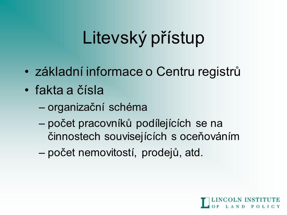 Litevský přístup základní informace o Centru registrů fakta a čísla –organizační schéma –počet pracovníků podílejících se na činnostech souvisejících s oceňováním –počet nemovitostí, prodejů, atd.