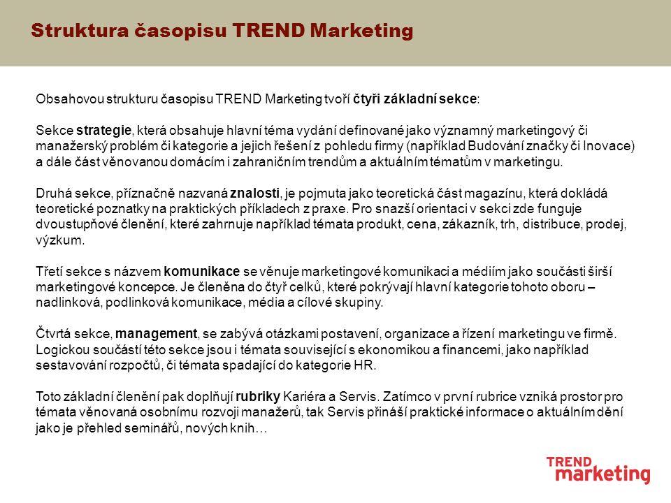 Struktura časopisu TREND Marketing Obsahovou strukturu časopisu TREND Marketing tvoří čtyři základní sekce: Sekce strategie, která obsahuje hlavní téma vydání definované jako významný marketingový či manažerský problém či kategorie a jejich řešení z pohledu firmy (například Budování značky či Inovace) a dále část věnovanou domácím i zahraničním trendům a aktuálním tématům v marketingu.