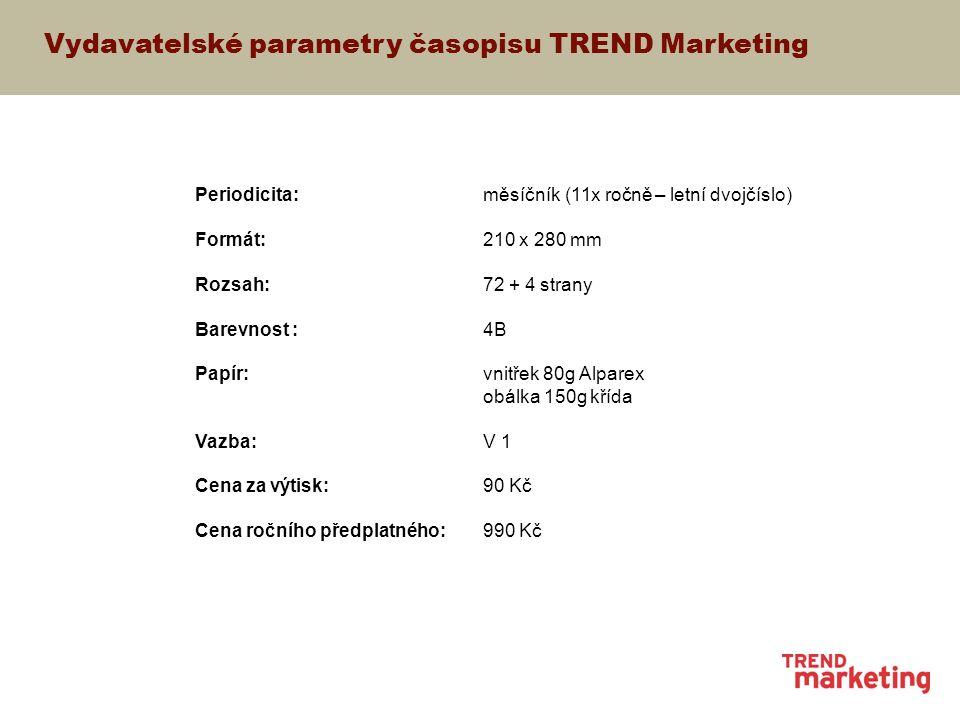 Součásti časopisu TREND Marketing Společné supplementy Časopis TREND Marketing spolu s týdeníkem Marketing&Media připravují pro rok 2005 celkem 8 supplementů zaměřených na klíčová témata z oboru marketing, management, marketingová komunikace a média.