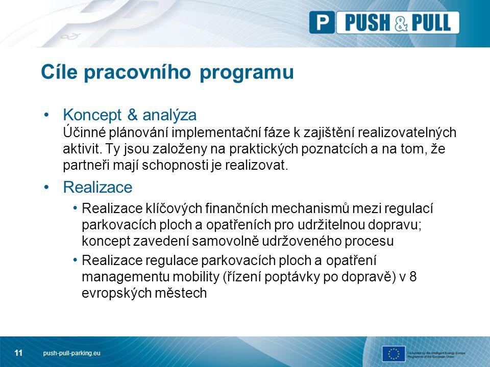 push-pull-parking.eu 11 Cíle pracovního programu Koncept & analýza Účinné plánování implementační fáze k zajištění realizovatelných aktivit. Ty jsou z