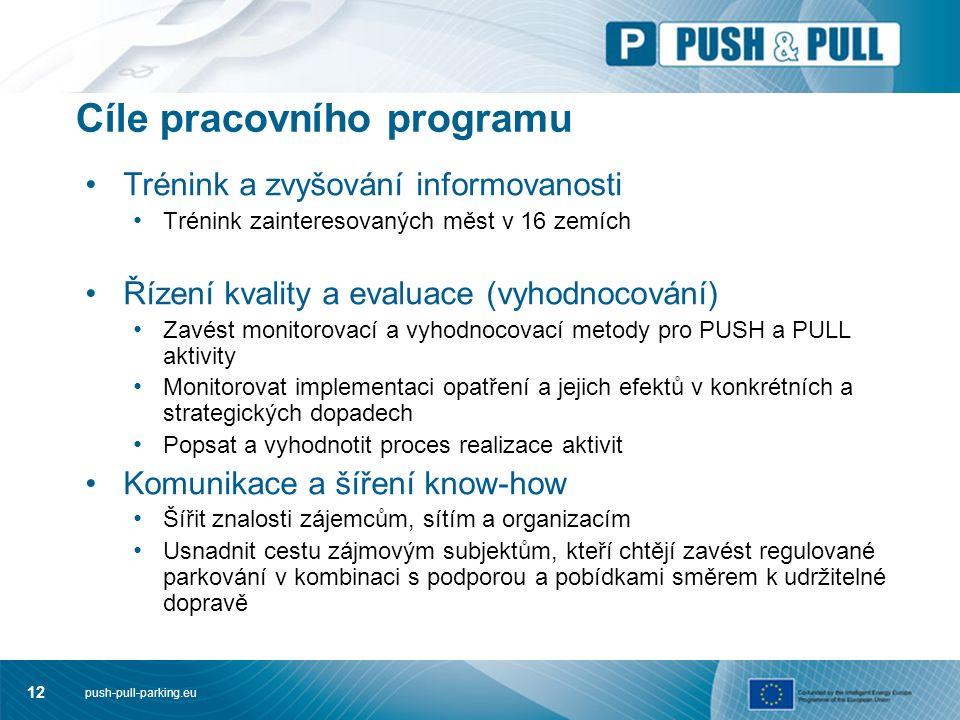 push-pull-parking.eu 12 Cíle pracovního programu Trénink a zvyšování informovanosti Trénink zainteresovaných měst v 16 zemích Řízení kvality a evaluace (vyhodnocování) Zavést monitorovací a vyhodnocovací metody pro PUSH a PULL aktivity Monitorovat implementaci opatření a jejich efektů v konkrétních a strategických dopadech Popsat a vyhodnotit proces realizace aktivit Komunikace a šíření know-how Šířit znalosti zájemcům, sítím a organizacím Usnadnit cestu zájmovým subjektům, kteří chtějí zavést regulované parkování v kombinaci s podporou a pobídkami směrem k udržitelné dopravě