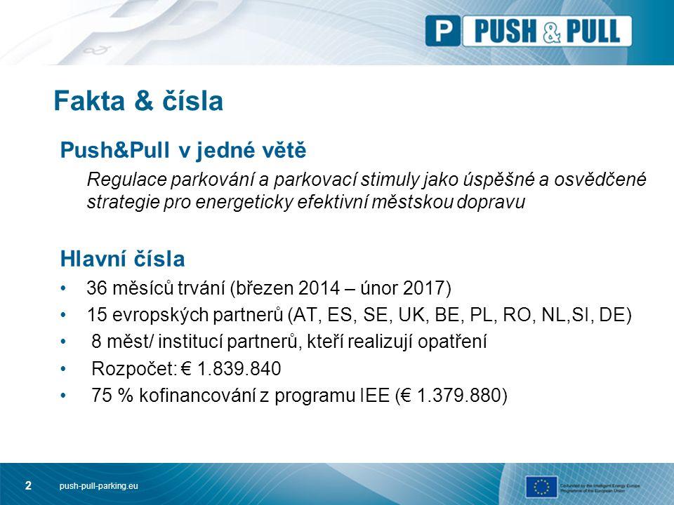 push-pull-parking.eu 2 Fakta & čísla Push&Pull v jedné větě Regulace parkování a parkovací stimuly jako úspěšné a osvědčené strategie pro energeticky efektivní městskou dopravu Hlavní čísla 36 měsíců trvání (březen 2014 – únor 2017) 15 evropských partnerů (AT, ES, SE, UK, BE, PL, RO, NL,SI, DE) 8 měst/ institucí partnerů, kteří realizují opatření Rozpočet: € 1.839.840 75 % kofinancování z programu IEE (€ 1.379.880)