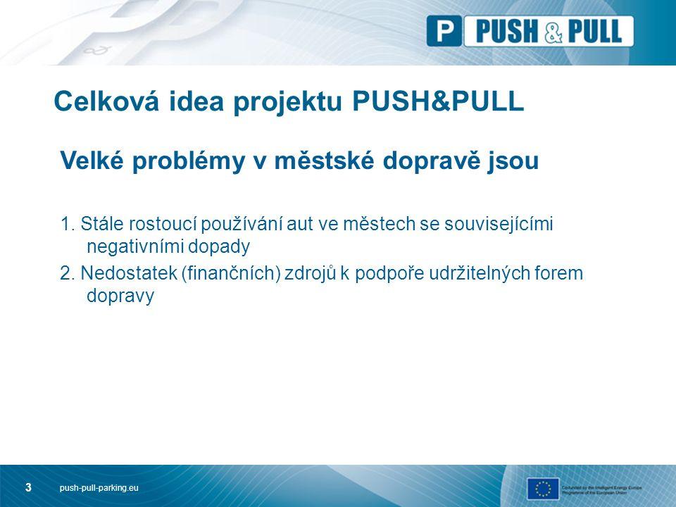push-pull-parking.eu 3 Celková idea projektu PUSH&PULL Velké problémy v městské dopravě jsou 1. Stále rostoucí používání aut ve městech se související