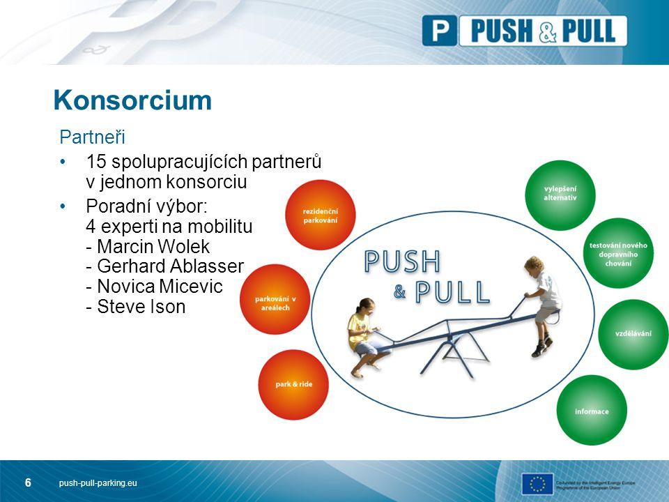 push-pull-parking.eu 6 Konsorcium Partneři 15 spolupracujících partnerů v jednom konsorciu Poradní výbor: 4 experti na mobilitu - Marcin Wolek - Gerhard Ablasser - Novica Micevic - Steve Ison