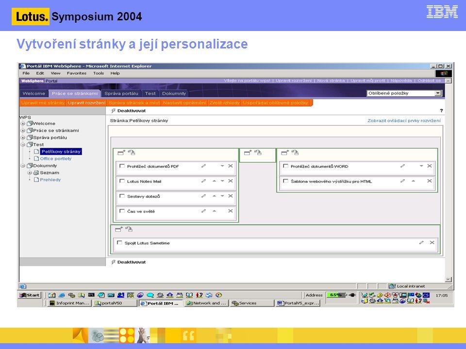 Symposium 2004 Vytvoření stránky a její personalizace