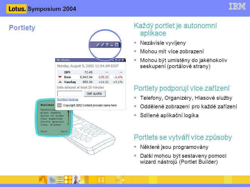 Symposium 2004 Portlety Každý portlet je autonomní aplikace  Nezávisle vyvíjeny  Mohou mít více zobrazení  Mohou být umístěny do jakéhokoliv seskupení (portálové strany) Portlety podporují více zařízení  Telefony, Organizéry, Hlasové služby  Oddělené zobrazení pro každé zařízení  Sdílené aplikační logika Portlets se vytváří více způsoby  Některé jsou programovány  Další mohou být sestaveny pomocí wizard nástrojů (Portlet Builder)