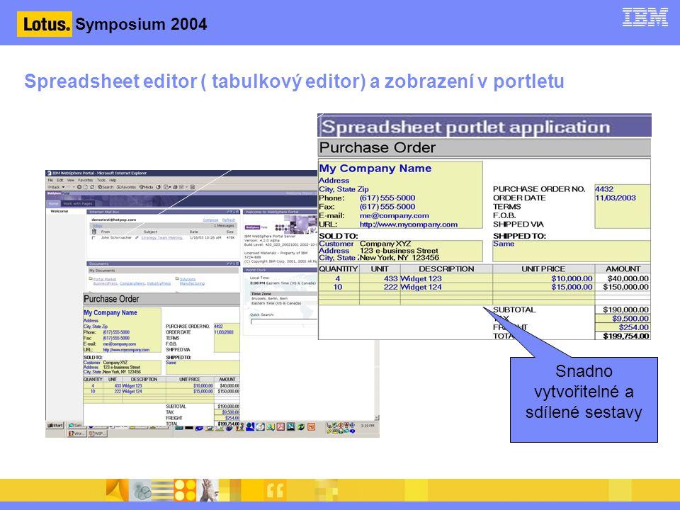 Symposium 2004 Spreadsheet editor ( tabulkový editor) a zobrazení v portletu Snadno vytvořitelné a sdílené sestavy
