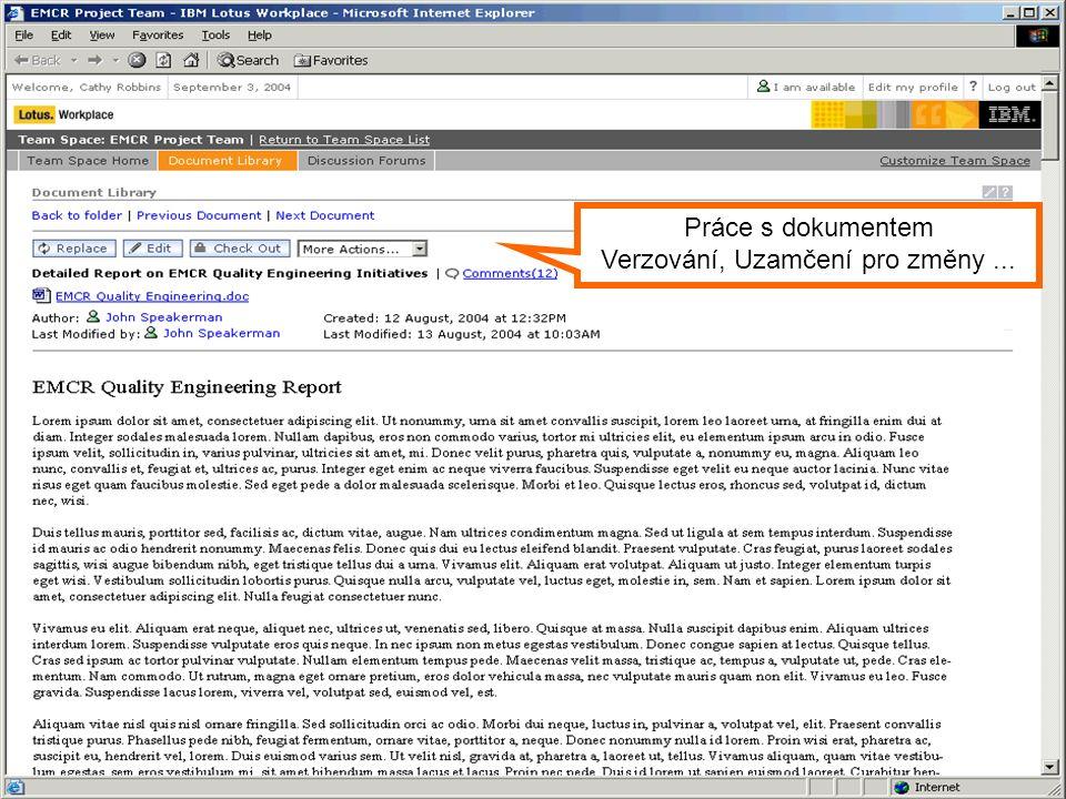 Symposium 2004 Práce s dokumentem Verzování, Uzamčení pro změny...