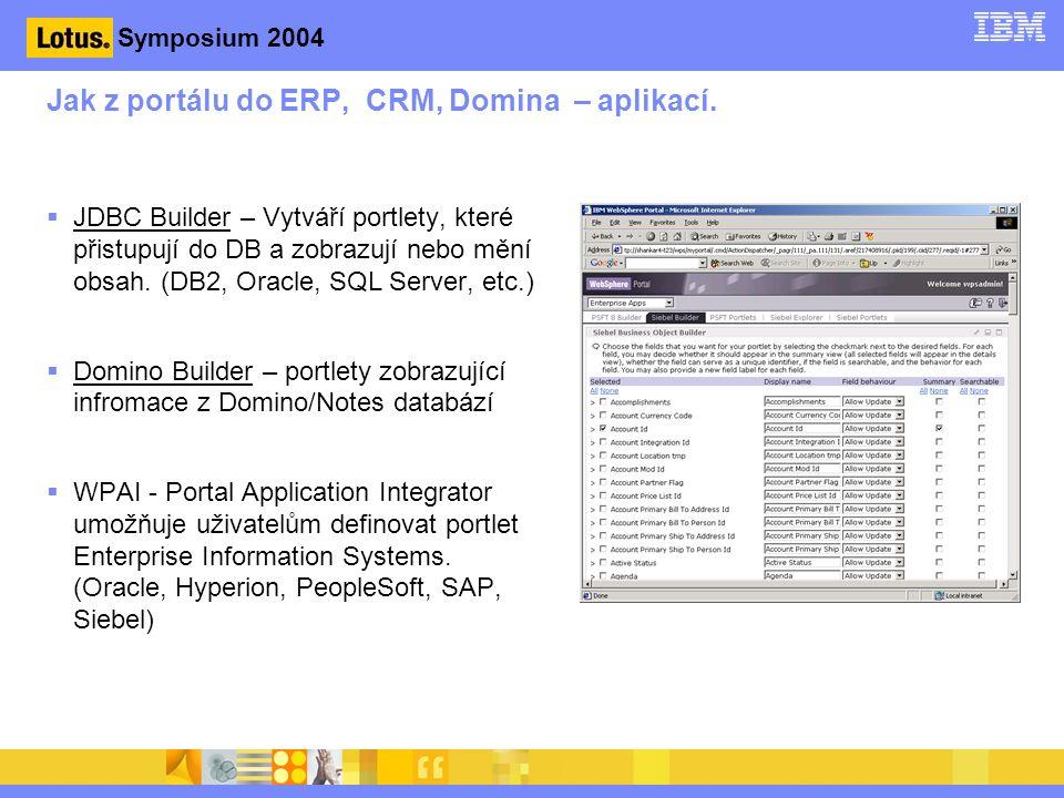 Symposium 2004 Jak z portálu do ERP, CRM, Domina – aplikací.
