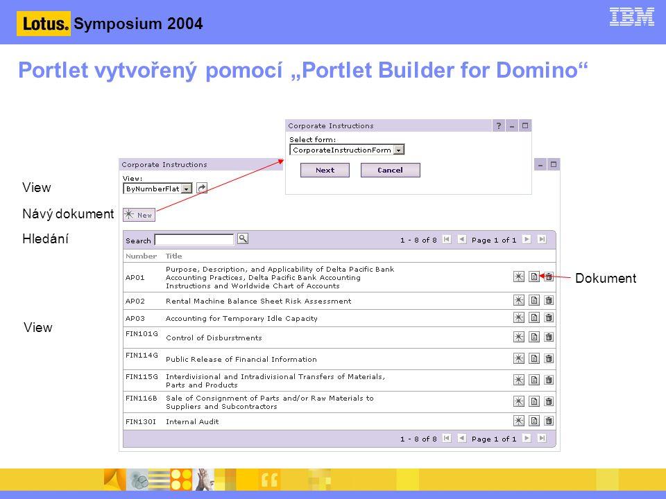 """Symposium 2004 Portlet vytvořený pomocí """"Portlet Builder for Domino View Návý dokument Hledání View Dokument"""