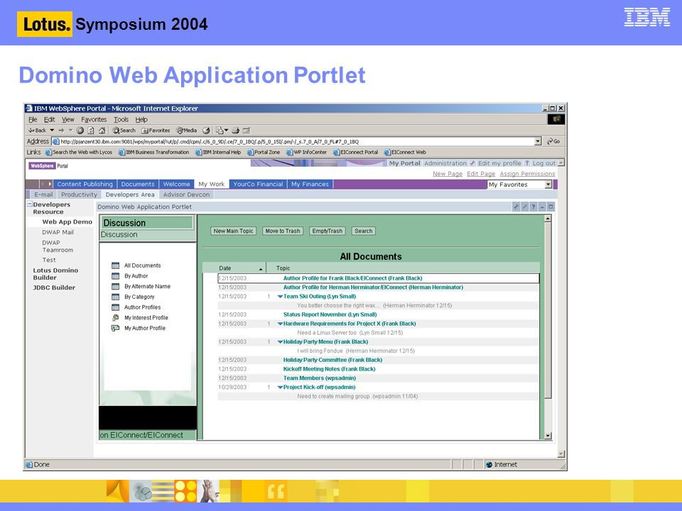 Symposium 2004 Domino Web Application Portlet