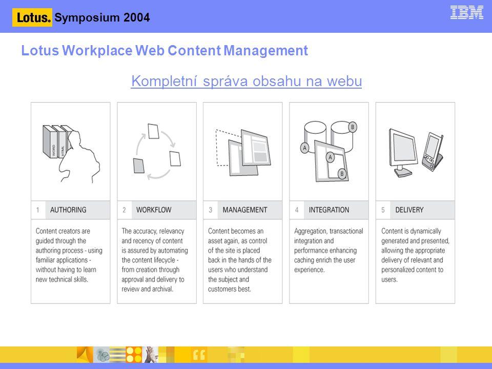 Lotus Workplace Web Content Management Kompletní správa obsahu na webu