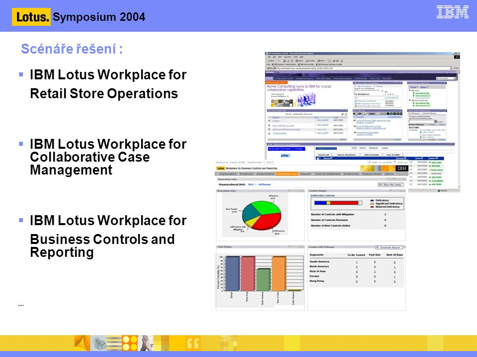 Symposium 2004 Scénáře řešení :  IBM Lotus Workplace for Retail Store Operations  IBM Lotus Workplace for Collaborative Case Management  IBM Lotus Workplace for Business Controls and Reporting....