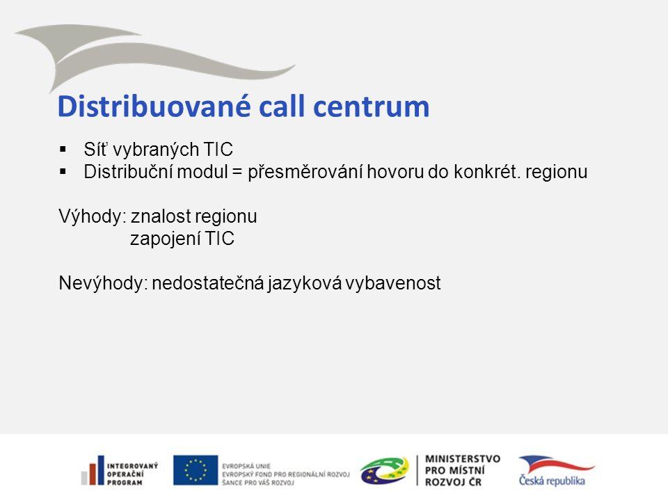 Distribuované call centrum  Síť vybraných TIC  Distribuční modul = přesměrování hovoru do konkrét. regionu Výhody: znalost regionu zapojení TIC Nevý