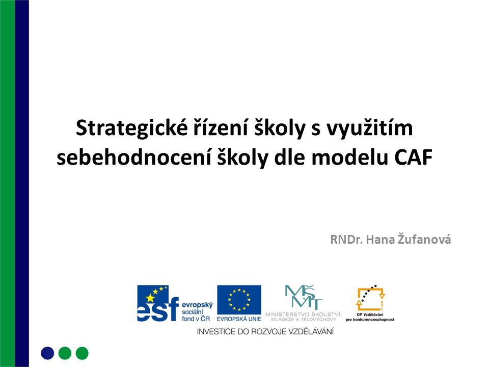 Strategické řízení školy s využitím sebehodnocení školy dle modelu CAF RNDr. Hana Žufanová