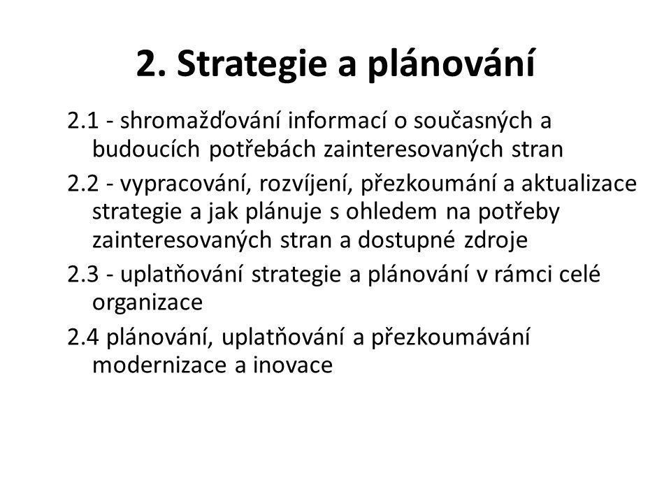2. Strategie a plánování 2.1 - shromažďování informací o současných a budoucích potřebách zainteresovaných stran 2.2 - vypracování, rozvíjení, přezkou