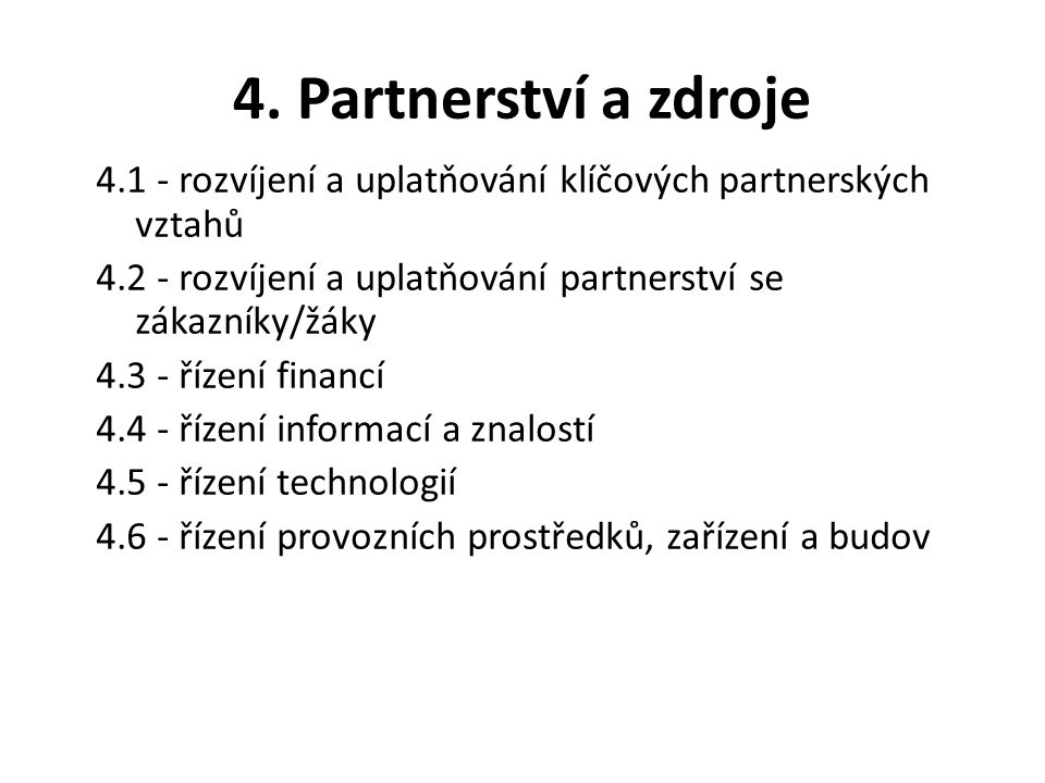 4. Partnerství a zdroje 4.1 - rozvíjení a uplatňování klíčových partnerských vztahů 4.2 - rozvíjení a uplatňování partnerství se zákazníky/žáky 4.3 -