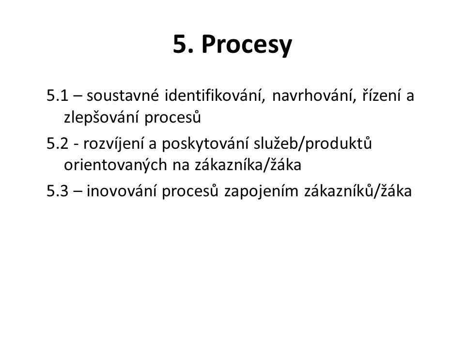 5. Procesy 5.1 – soustavné identifikování, navrhování, řízení a zlepšování procesů 5.2 - rozvíjení a poskytování služeb/produktů orientovaných na záka