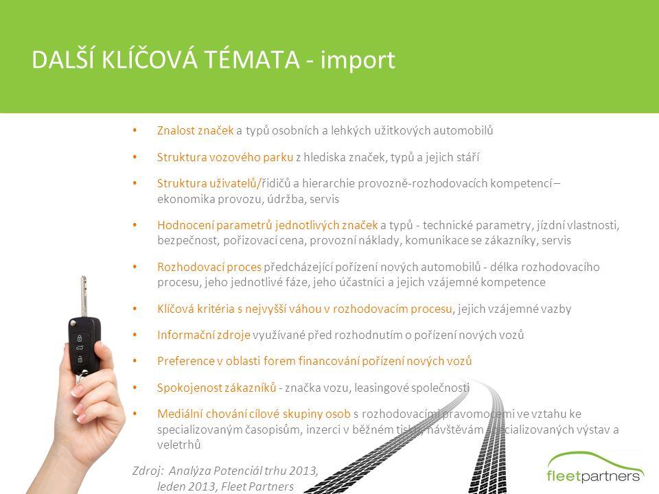 DALŠÍ KLÍČOVÁ TÉMATA - import Znalost značek a typů osobních a lehkých užitkových automobilů Struktura vozového parku z hlediska značek, typů a jejich