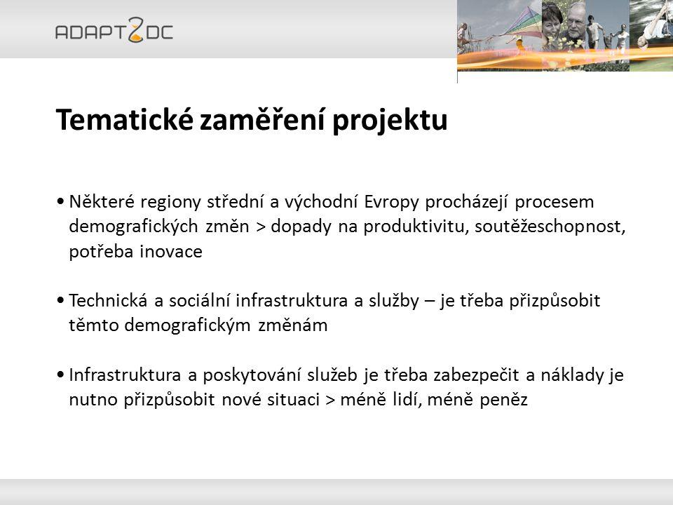 Cíle projektu Adapt2DC Informovat veřejnost o dopadech úbytku obyvatelstva na provoz a využívání infrastruktury a služby Pilotní akce k vytvoření rámce a přizpůsobení se úbytku obyvatelstva Zpracovat nadnárodní strategie pro náklady na bezpečné zajištění technické a sociální infrastruktury v městských a venkovských územích Transfer znalostí na místní, regionální a evropské úrovni