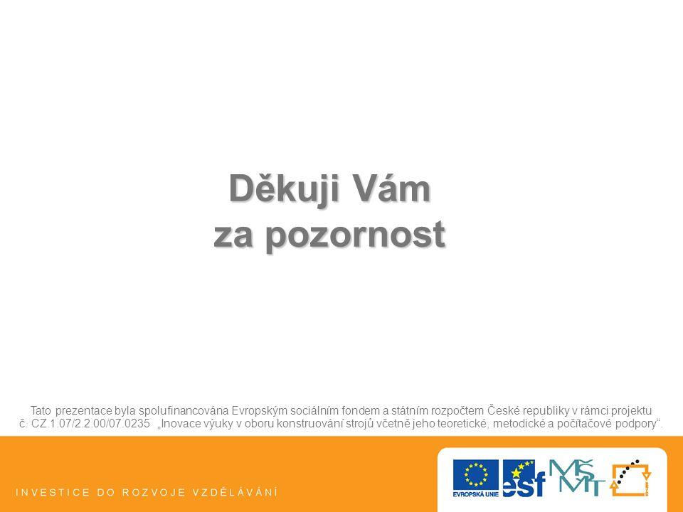 Děkuji Vám za pozornost Tato prezentace byla spolufinancována Evropským sociálním fondem a státním rozpočtem České republiky v rámci projektu č.