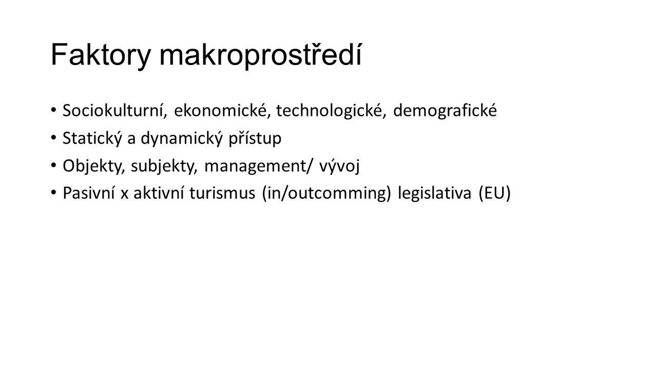 Faktory makroprostředí Sociokulturní, ekonomické, technologické, demografické Statický a dynamický přístup Objekty, subjekty, management/ vývoj Pasivní x aktivní turismus (in/outcomming) legislativa (EU)