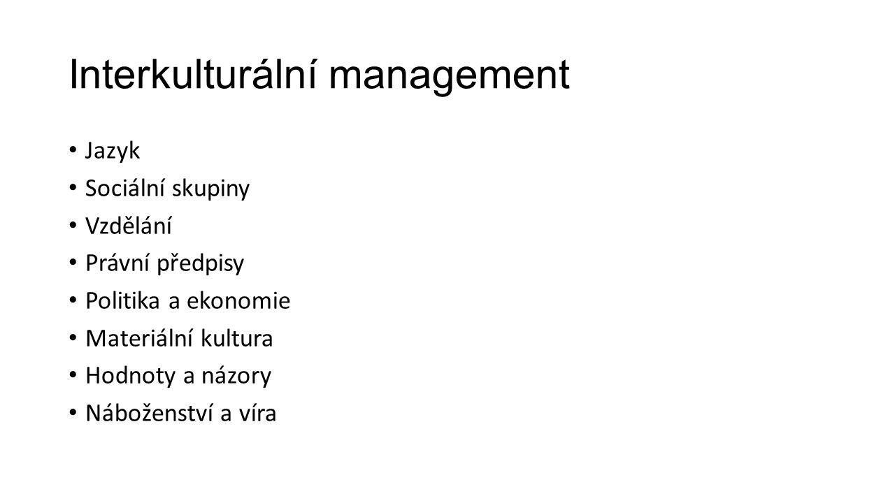 Interkulturální management Jazyk Sociální skupiny Vzdělání Právní předpisy Politika a ekonomie Materiální kultura Hodnoty a názory Náboženství a víra