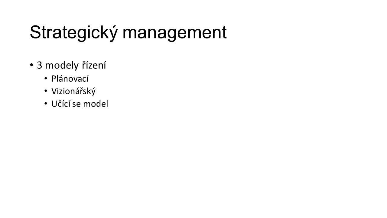Strategický management 3 modely řízení Plánovací Vizionářský Učící se model