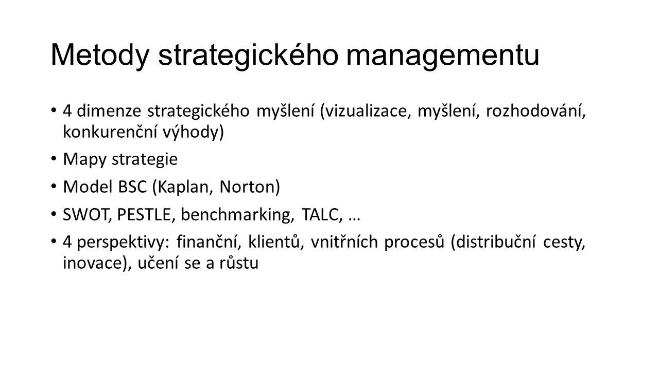 Metody strategického managementu 4 dimenze strategického myšlení (vizualizace, myšlení, rozhodování, konkurenční výhody) Mapy strategie Model BSC (Kaplan, Norton) SWOT, PESTLE, benchmarking, TALC, … 4 perspektivy: finanční, klientů, vnitřních procesů (distribuční cesty, inovace), učení se a růstu