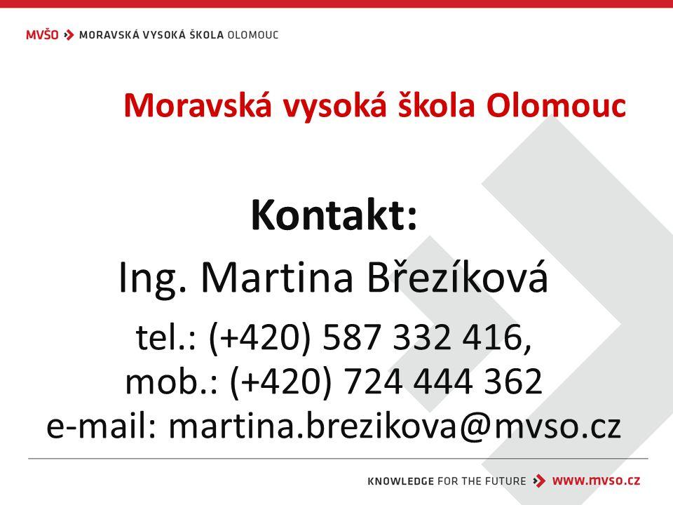 Moravská vysoká škola Olomouc Kontakt: Ing.