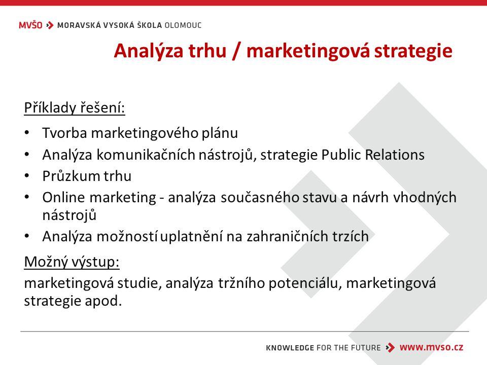 Analýza trhu / marketingová strategie Příklady řešení: Tvorba marketingového plánu Analýza komunikačních nástrojů, strategie Public Relations Průzkum trhu Online marketing - analýza současného stavu a návrh vhodných nástrojů Analýza možností uplatnění na zahraničních trzích Možný výstup: marketingová studie, analýza tržního potenciálu, marketingová strategie apod.