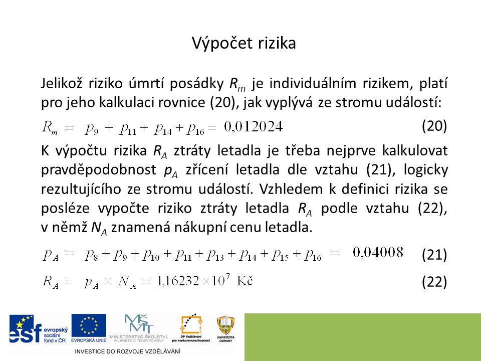 Výpočet rizika Jelikož riziko úmrtí posádky R m je individuálním rizikem, platí pro jeho kalkulaci rovnice (20), jak vyplývá ze stromu událostí: (20)