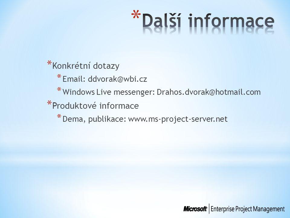 * Konkrétní dotazy * Email: ddvorak@wbi.cz * Windows Live messenger: Drahos.dvorak@hotmail.com * Produktové informace * Dema, publikace: www.ms-project-server.net