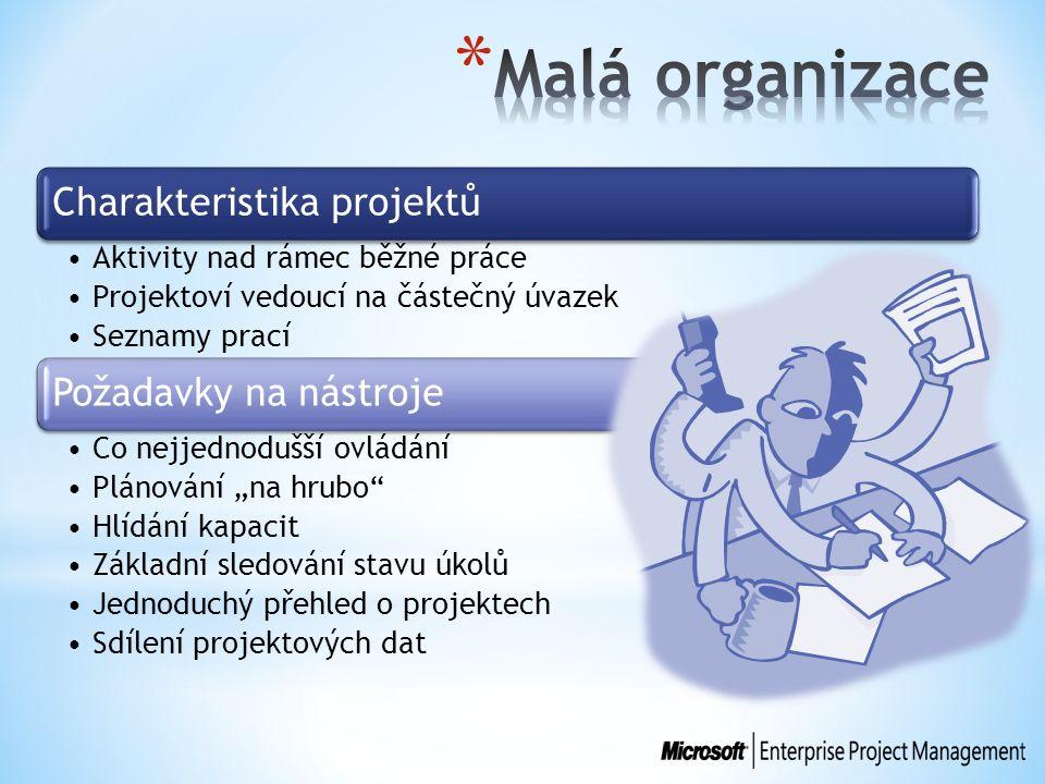 Charakteristika projektů Aktivity nad rámec běžné práce Projektoví vedoucí na částečný úvazek Seznamy prací Požadavky na nástroje Co nejjednodušší ovl