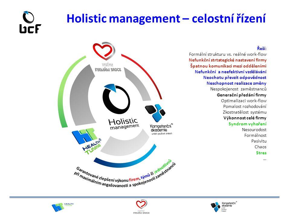 Holistic management – celostní řízení Řeší: Formální strukturu vs. reálné work-flow Nefunkční strtategické nastavení firmy Špatnou komunikaci mezi odd