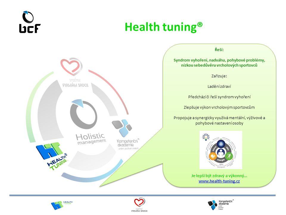Health tuning® Řeší: Syndrom vyhoření, nadváhu, pohybové problémy, nízkou sebedůvěru vrcholových sportovců Zařizuje: Ladění zdraví Předchází či řeší s