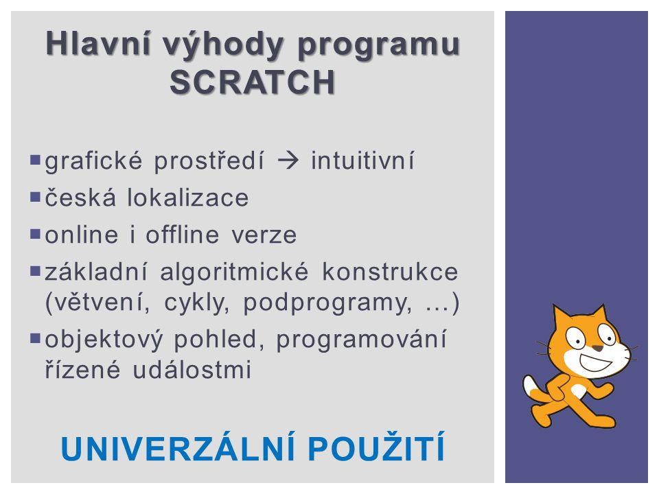 Hlavní výhody programu SCRATCH  grafické prostředí  intuitivní  česká lokalizace  online i offline verze  základní algoritmické konstrukce (větvení, cykly, podprogramy, …)  objektový pohled, programování řízené událostmi UNIVERZÁLNÍ POUŽITÍ