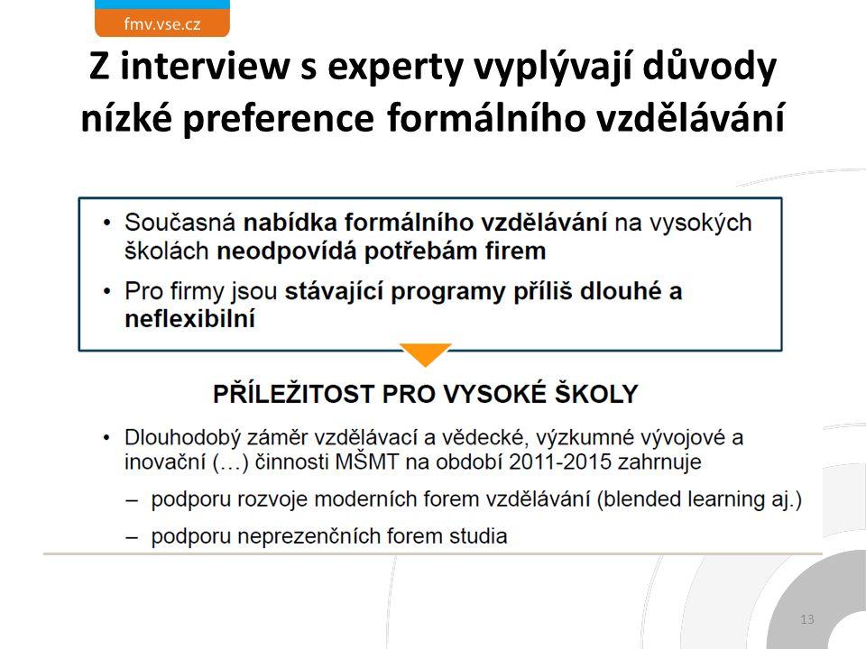 Z interview s experty vyplývají důvody nízké preference formálního vzdělávání 13
