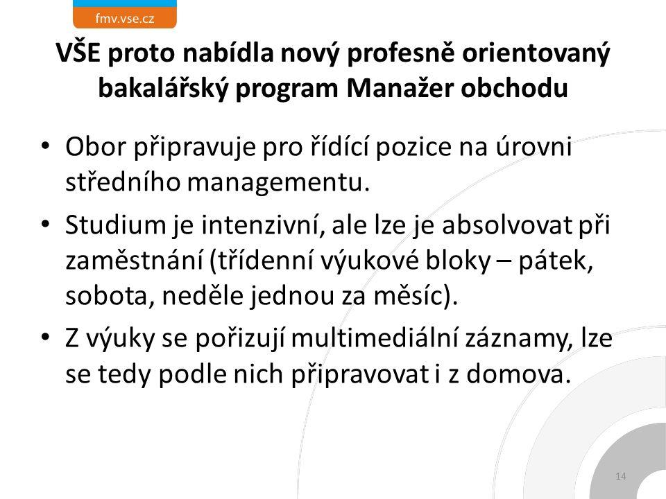 VŠE proto nabídla nový profesně orientovaný bakalářský program Manažer obchodu Obor připravuje pro řídící pozice na úrovni středního managementu.