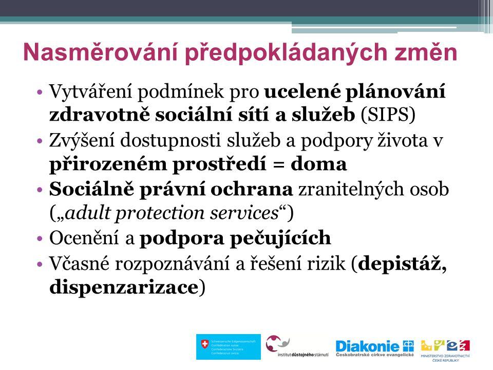 """Nasměrování předpokládaných změn Vytváření podmínek pro ucelené plánování zdravotně sociální sítí a služeb (SIPS) Zvýšení dostupnosti služeb a podpory života v přirozeném prostředí = doma Sociálně právní ochrana zranitelných osob (""""adult protection services ) Ocenění a podpora pečujících Včasné rozpoznávání a řešení rizik (depistáž, dispenzarizace)"""