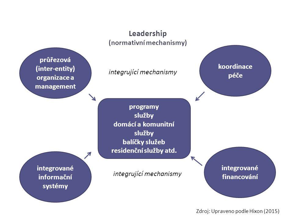 průřezová (inter-entity) organizace a management koordinace péče integrované informační systémy integrované financování integrující mechanismy Leadership (normativní mechanismy) programy služby domácí a komunitní služby balíčky služeb residenční služby atd.