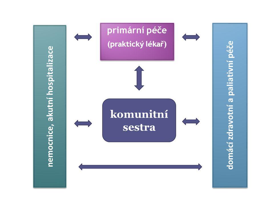 nemocnice, akutní hospitalizace primární péče (praktický lékař) primární péče (praktický lékař) domácí zdravotní a paliativní péče komunitní sestra
