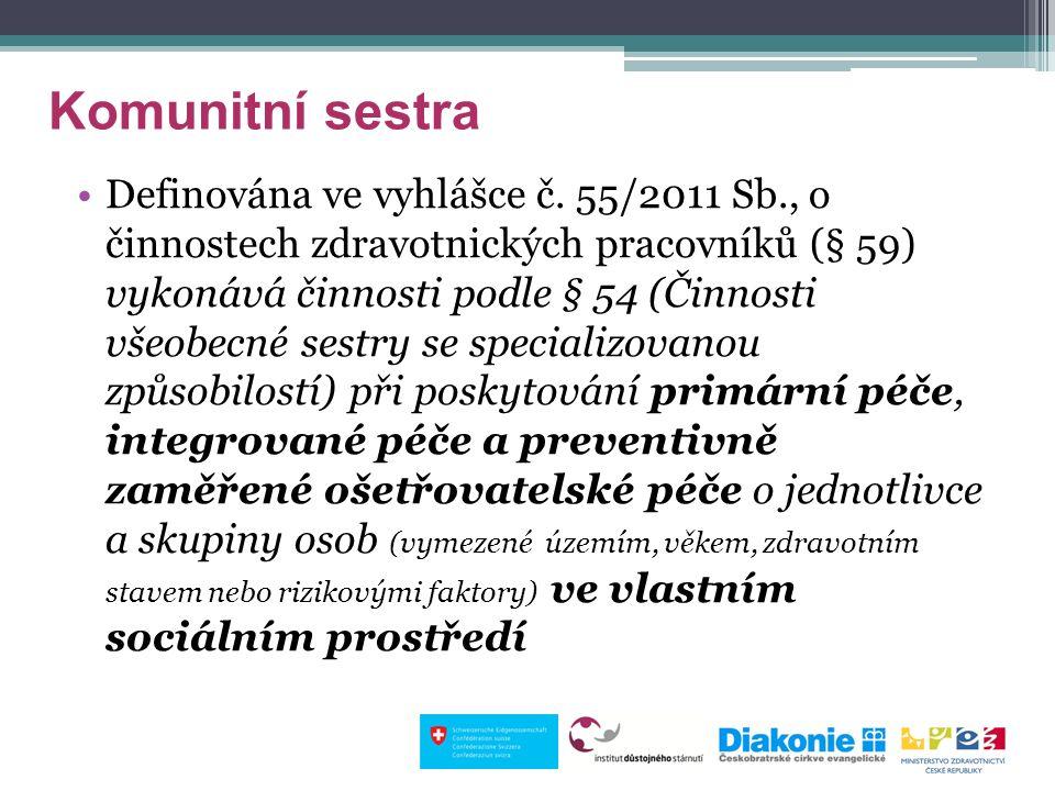 Komunitní sestra Definována ve vyhlášce č. 55/2011 Sb., o činnostech zdravotnických pracovníků (§ 59) vykonává činnosti podle § 54 (Činnosti všeobecné