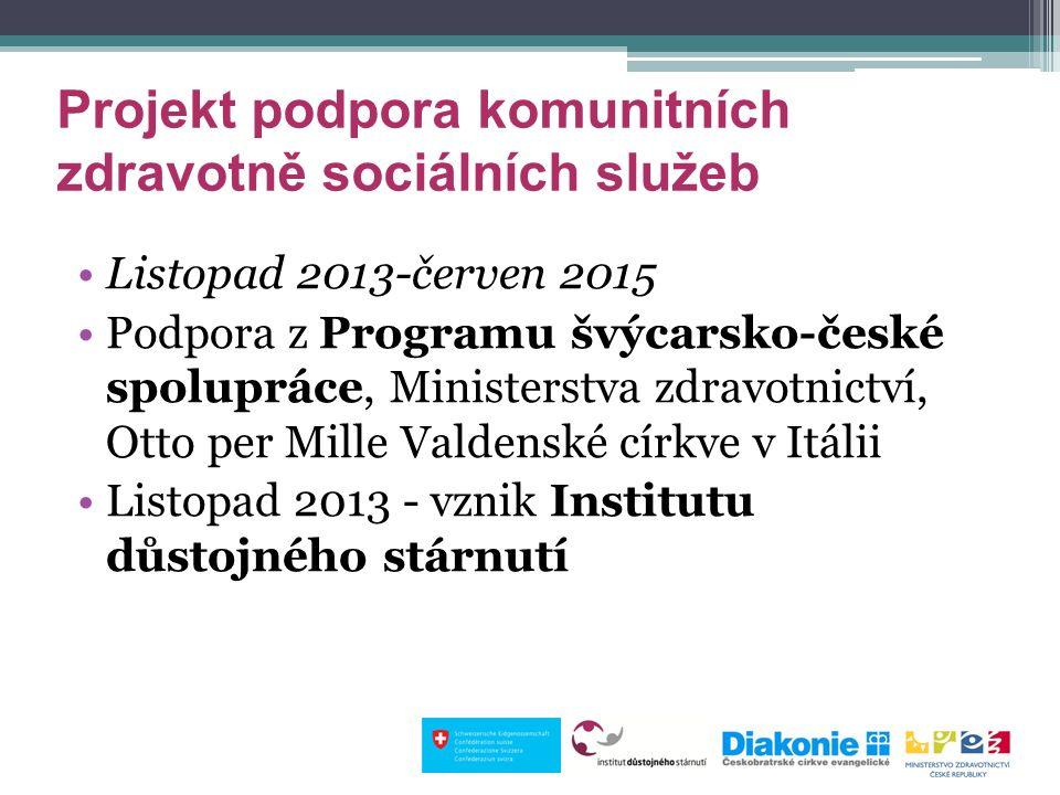 Projekt podpora komunitních zdravotně sociálních služeb Listopad 2013-červen 2015 Podpora z Programu švýcarsko-české spolupráce, Ministerstva zdravotn