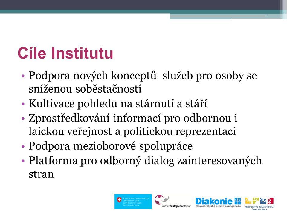 Cíle Institutu Podpora nových konceptů služeb pro osoby se sníženou soběstačností Kultivace pohledu na stárnutí a stáří Zprostředkování informací pro odbornou i laickou veřejnost a politickou reprezentaci Podpora mezioborové spolupráce Platforma pro odborný dialog zainteresovaných stran