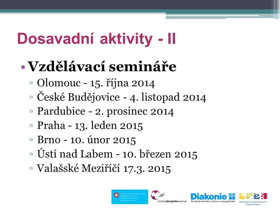 Dosavadní aktivity - II Vzdělávací semináře ▫Olomouc - 15. října 2014 ▫České Budějovice - 4. listopad 2014 ▫Pardubice - 2. prosinec 2014 ▫Praha - 13.